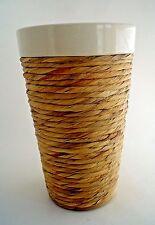 Twine Wrapped Vintage Vase White Ceramic