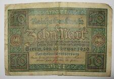 Geld Schein Reichsbanknote 10 Mark Berlin 1920 ...#A454