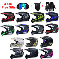 Motorcycle Motocross Off Road Helmet MTB ATV Dirt Bike Helmets +3Pcs Free Gloves