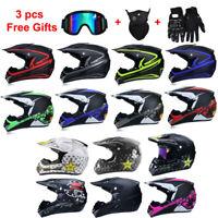 Motorcycle Motocross Off Road Helmet MTB ATV Dirt Bike Helmets +3Pcs Free Gloves