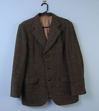 Vintage Harris Tweed Jacket In Green w/ Check Pattern Dunn & Co Heavy Wool 40R