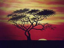African Savannah ALBERO grandi dipinti a mano PITTURA AD OLIO TELA PAESAGGIO MODERNO