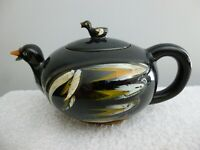 Vintage, Hand Painted, Black Duck, Tea Pot w/Lid, Redware Pottery.