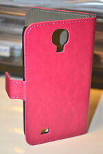 Pink Genuine Leather Wallet Case Cover for Samsung Galaxy S4 i9500 i9505 LTE 4G