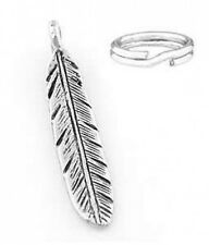 "STERLING SILVER ""FEATHER"" CHARM WITH SPLIT RING"