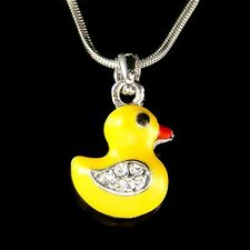 w Swarovski Crystal ~Yellow DUCK Easter DUCKIE Ducky Charm Pendant Necklace Cute