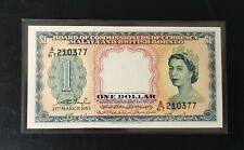 1953 Malaya Queen $1 A/67 210377 UNC