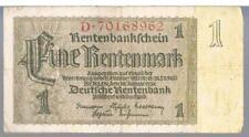 GERMANY BANKNOTE 1 P173b 1937 VF -1/2 TYPES THIS PICK - Deutsche Rentenbank