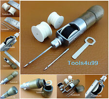 One Leather Craft Automatic Lock Stitching Sewing Awl Set 2 Needle 3 Thread NEW