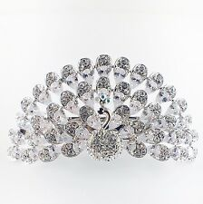 USA BARRETTE use Swarovski Crystal Hair Clip Hairpin Elegant Peacock Silvers H03