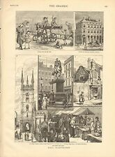 1882 ANTIQUE PRINT- HULL, MARKET PLACE,DAGGER LANE,ST MARY'S CHURCH