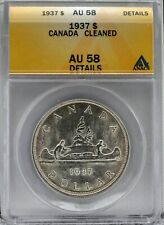 1937 Canada Silver Dollar ANACS Certified AU 58 Details Cleaned