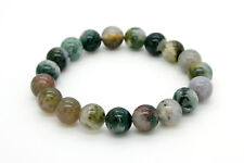 """Mixed Color Agate Smooth Round Gemstone Beads. 8"""" Strand Elastic Chord Bracelet"""