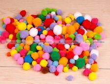 Mini Craft Pom Pom Packs of 100 Fuzzy Pompom Balls Mix Colours 3 Sizes