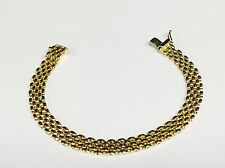 "14k Solid Yellow Gold Fashion PANTHER 5 Row Link Bracelet 7""  6.5 mm  10 grams"
