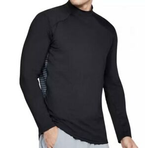 UNDER ARMOUR ColdGear Reactor Mock Neck Black L/S Fitted Shirt NEW Mens S