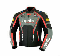 Aprilia Riding Racing Motorbike Motorcycle Cowhide Leather CE Armour Mens Jacket