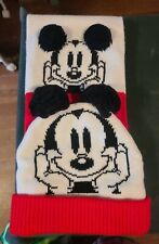 NOS Disney Mickey Mouse Scarf & Hat, Ears on Hat & Front of Scarf are Pom Poms.