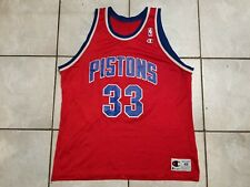 VINTAGE 90' PISTONS DETROIT #33 HILL NBA CHAMPION BASKETBALL JERSEY SZ 48