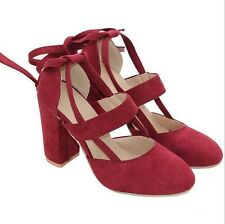 Women's Ankle Strap Suede Pointed Lace up Block High Heels Pump Shoes Size 5-8.5