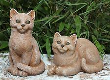 sculpture en pierre CHATS 2ER SET FIGURE ANIMALE JARDIN Figurine décorative