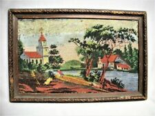 Antique Folk Art Micro Bead Hand Made Picture Wood Frame Old Primitive Beaded