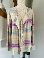 EAST Ladies Lightweight  Knit Cardigan Stripe Waterfall Size Large UK14 16