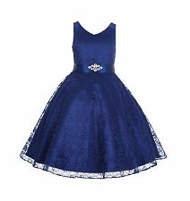 Wedding floral Lace overlay V-Neck Flower girl Dress Pageant Holiday Christmas
