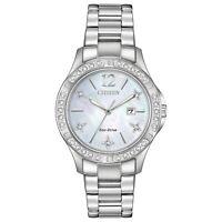 Citizen Eco-Drive Elektra Women's Crystal Silver-Tone 32mm Watch EW2510-50D