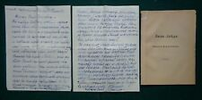 Baroness Wrangel Signed Letter 1933 Memoir & Death of Baron Wrangel White Army