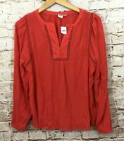 Gap womens medium shirt tunic gauze vneck cutout crochet long sleeve new BX2