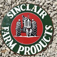 VINTAGE SINCLAIR FARM PRODUCTS PORCELAIN SIGN OIL LUBE GAS STATION TRACTOR RANCH