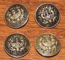 *Lot of 4* Vintage Metal Gold / Bronze JTE Crest w/ Axe Buttons For Clothing!