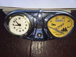 """Bicycle Speedometer Stewart Warner  26"""" speedo W CLOCK console Schwinn Columbia"""