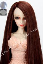 "7-8"" 1/4 BJD Red Brwon Long Wig LUTS Doll SD DZ DOD MSD Soom Volks Hair +Cap #AL"
