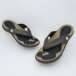 Crocs Modi Sport Flip Flop Sandals Brown Espresso Walnut Waterproof Size 13