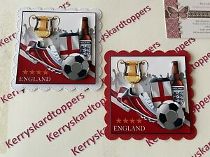 2 x Decoupage NEW Pictures of Birthday England FootBall Theme Toppers