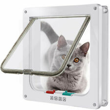 White 4 Way Locking Lockable Pet Cat Puppy Dog Magnetic Flap Door Gate S M L