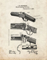 Winchester 1885 single-shot rifle Patent Print Old Look
