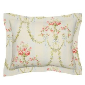 Floral Vintage Victorian Damask Stripe Chic Marie Pillow Sham by Roostery