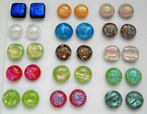 Lot 30 pcs round square handmade DICHROIC earrings FUSED GLASS (Q8) CABOCHONS