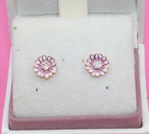 AUTHENTIC PANDORA Pink Daisy Flower Stud Earrings, 288773C01  #2098