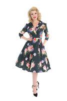 Hearts & Roses Retro Midnight Green 50s Women Rockabilly Pink Roses Swing Dress
