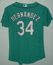 SEATTLE MARINERS #34 FELIX HERNANDEZ JERSEY TEAL MAJESTIC COOL BASE LADIES S