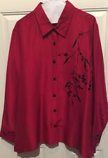 Red Silk Black Embroidered Button Front Blouse Coldwater Creek Size XL Chest 48""
