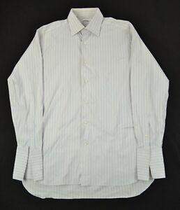 LORENZINI Mint Spread Collar White Blue Tan Stripe French Cuff Dress Shirt 15.5