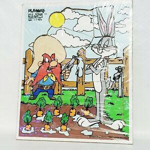 VINTAGE PLAYSKOOL Wooden Tray Jigsaw Puzzle 1985 Bugs Bunny & Yosemite Sam