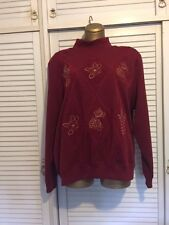 Damart Burgundy Coloured Fleecy Top Size 18 with Embroidered Front