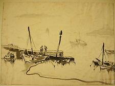 Bateaux au mouillage Dessin à l'encre sur calque signé D Walker marine drawing