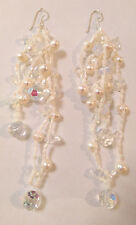 Formal Sterling Silver White Freshwater Pearl Crystal Bead Long Earrings